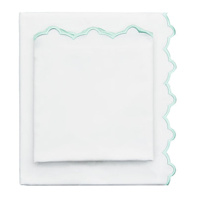 Mint Green Scalloped Embroidered Sheet Set 1 (Fitted, Flat, & Pillow Cases)
