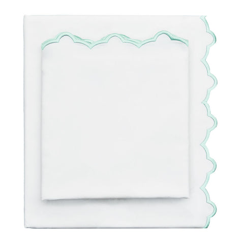 The Mint Green Scalloped Embroidered Sheet Set