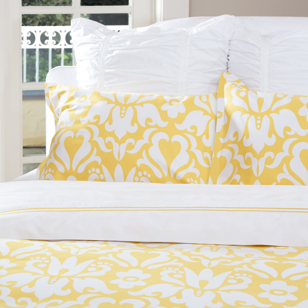 Bedroom inspiration and bedding decor | Montgomery Yellow Euro Sham Duvet Cover | Crane and Canopy