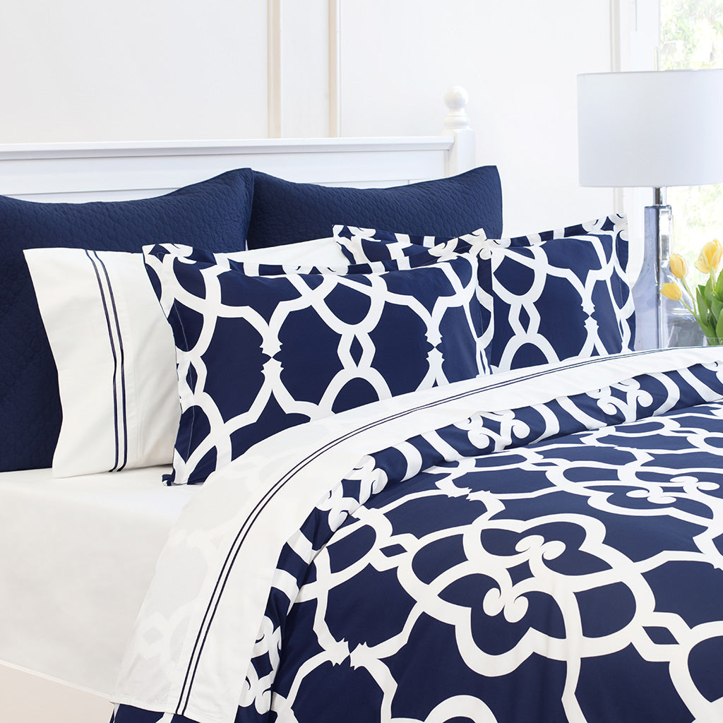Bedroom inspiration and bedding decor | Navy Pacific Sham Duvet Cover | Crane and Canopy