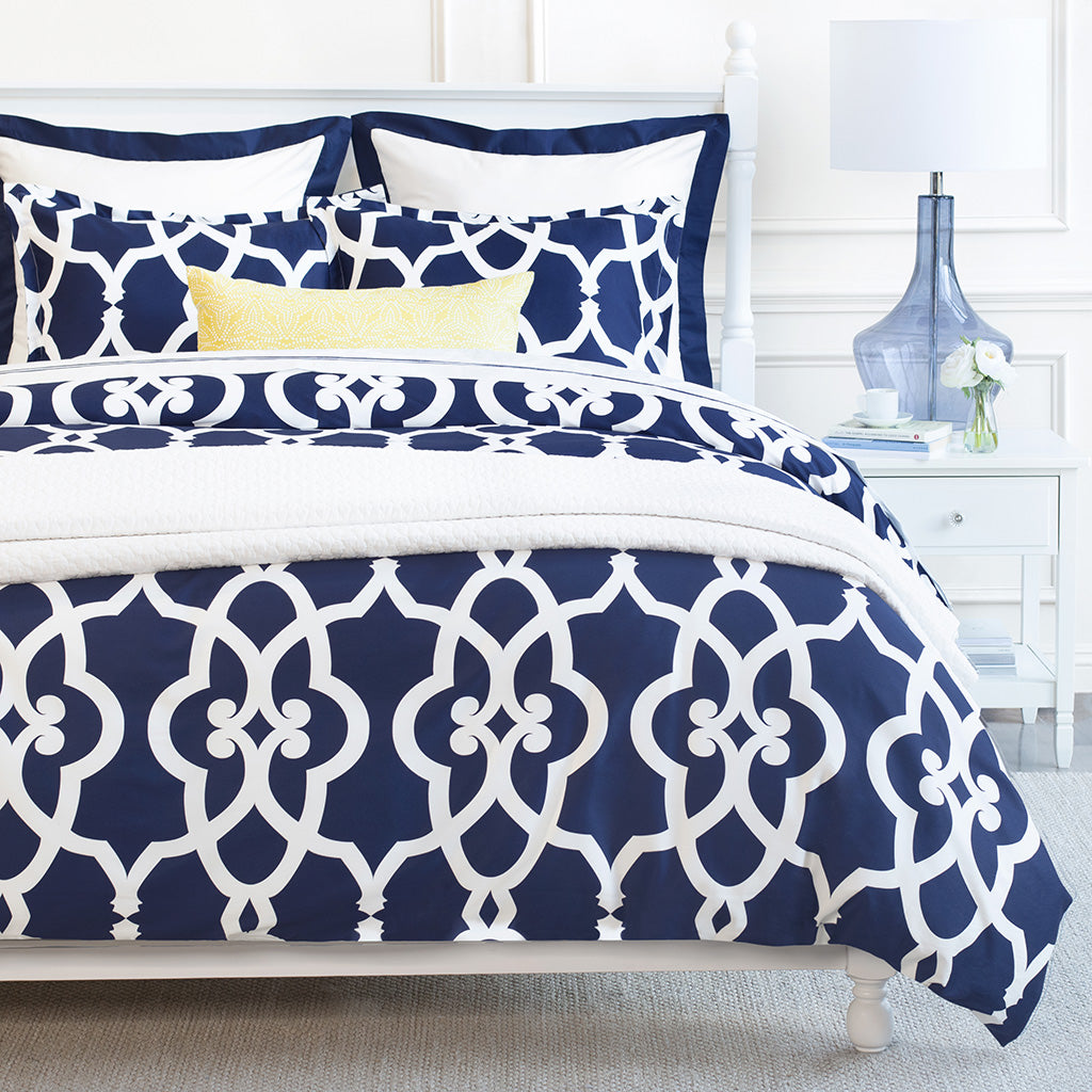 Bedroom inspiration and bedding decor | Navy Pacific Euro Sham Duvet Cover | Crane and Canopy