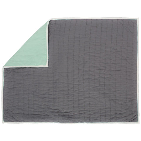 Reversible Pick-Stitch Charcoal Grey Quilt Sham