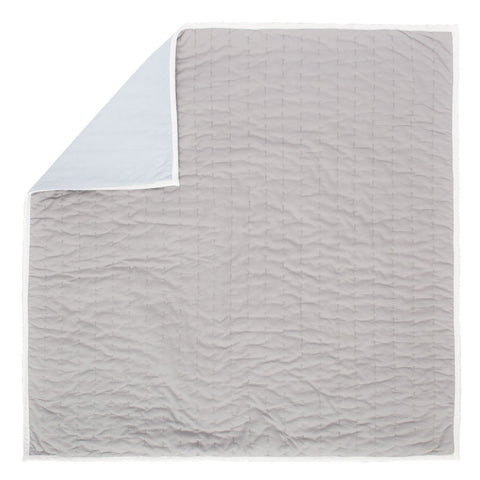 Reversible Pick-Stitch Light Grey Quilt Euro Sham