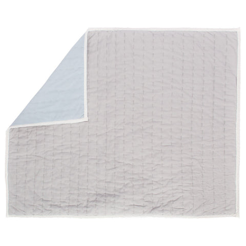 Reversible Pick-Stitch Light Grey Quilt Sham