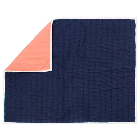Reversible Pick-Stitch Navy Blue Quilt Sham