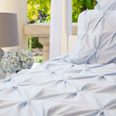 Bedroom inspiration and bedding decor | The Valencia Light Blue Pintuck | Crane and Canopy