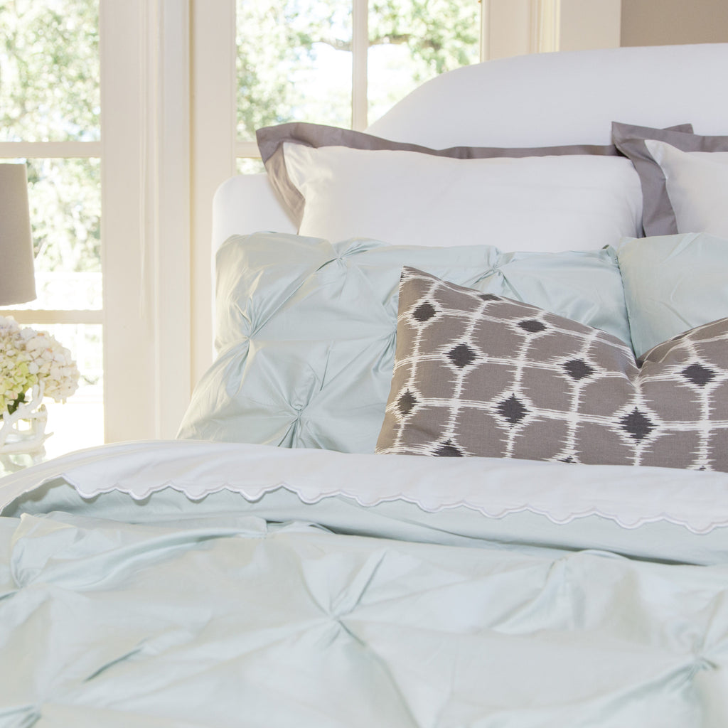 Bedroom inspiration and bedding decor | The Valencia Mint Green Pintuck Duvet Cover | Crane and Canopy