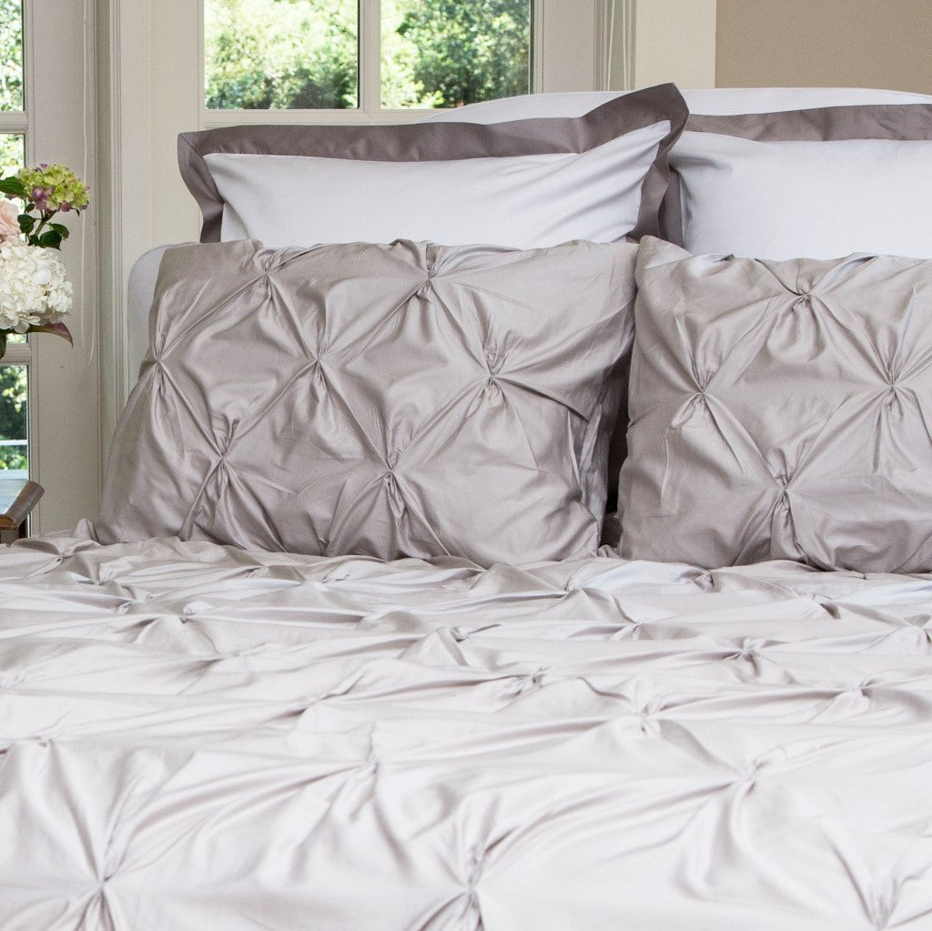 Pintuck Duvet: The Valencia Dove Grey Pintuck