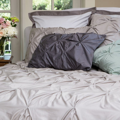 Bedroom inspiration and bedding decor | The Valencia Dove Grey Pintuck Duvet Cover | Crane and Canopy
