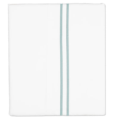 Porcelain Green Lines Embroidered Flat Sheet