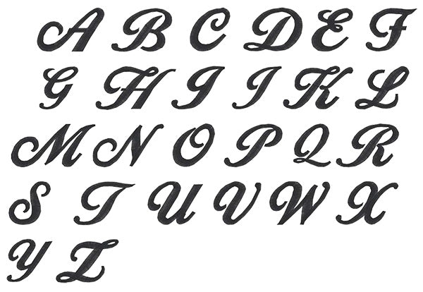 Image of all the letters in Script