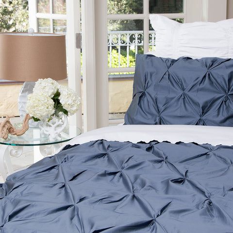 Bedroom inspiration and bedding decor | The Valencia Slate Blue Pintuck Duvet Cover | Crane and Canopy
