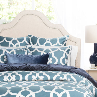 Bedroom inspiration and bedding decor | Dusk Blue Velvet Throw Pillow Duvet Cover | Crane and Canopy