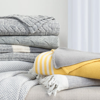 Bedroom inspiration and bedding decor | The Grey Banded Edge Throw | Crane and Canopy