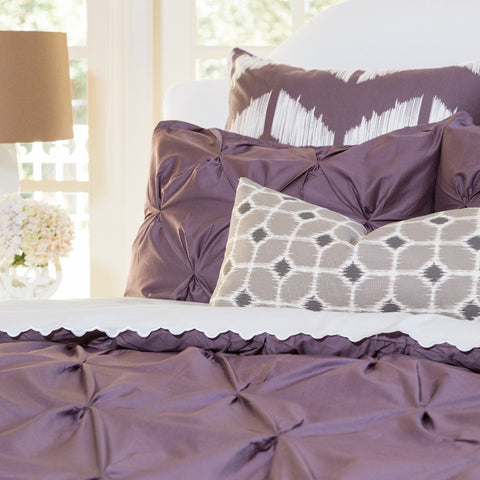 Purple pintuck the valencia plum duvet cover crane for Exclusive plum bedroom