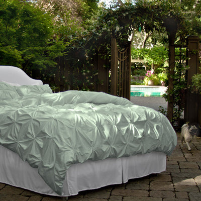 Bedroom inspiration and bedding decor | The Valencia Sage Green Pintuck Duvet Cover | Crane and Canopy