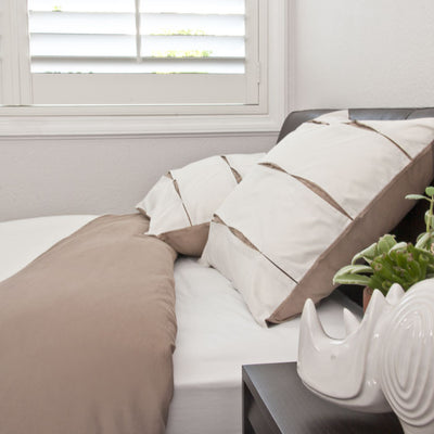 Bedroom inspiration and bedding decor | The Vista Beige Duvet Cover | Crane and Canopy