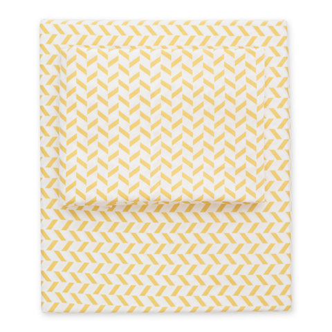 Yellow Herringbone Sheet Set 2 (Fitted & Pillow Cases)