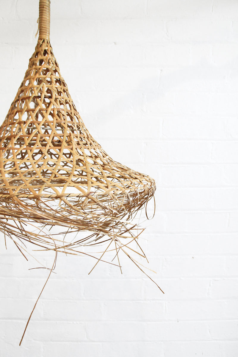Sanbasics Fringed Rattan Pendant - Medium
