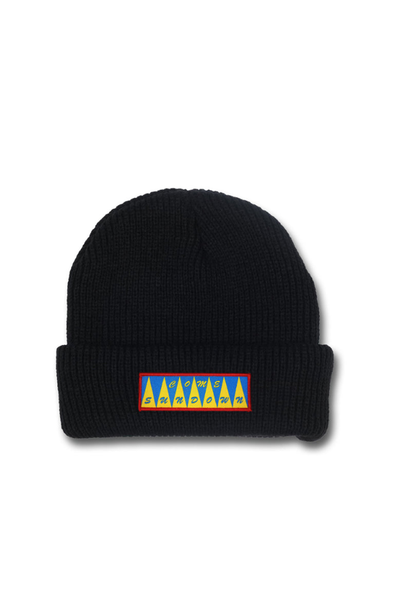 Come Sundown Spikes Cotton Beanie - Black