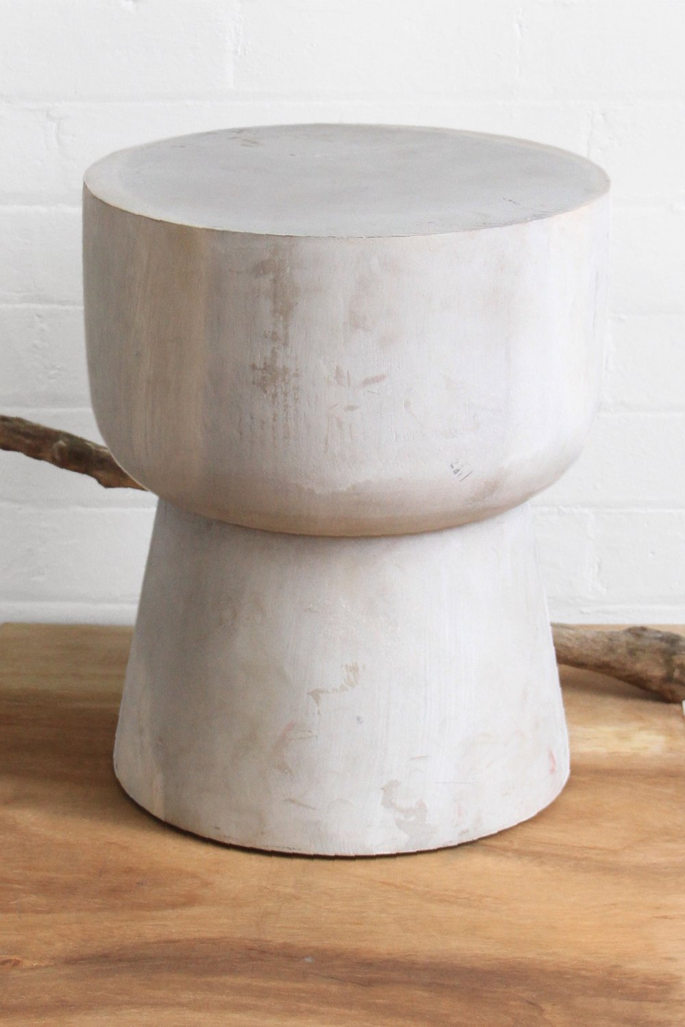 SanBasics Solid Suar Timber Mushroom Stool - White Wash