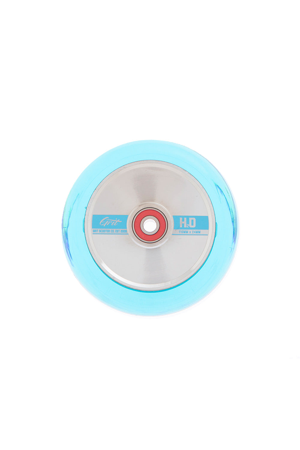Grit H20 110x24mm Scooter Wheel Pack - Trans Blue/Polished
