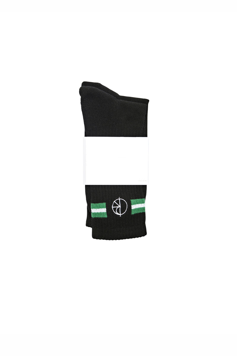 Polar Skate Co Stroke Logo Socks - Black/Green/White