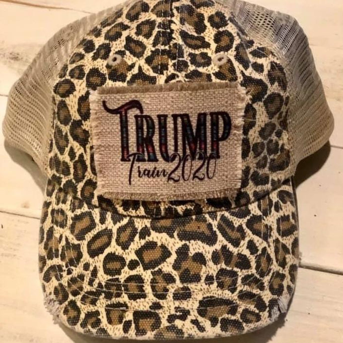 Trump Train 2020 Leopard Patch Trucker Hat