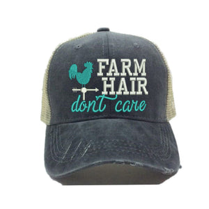 fun-trucker-hats - Farm Hair Don't Care -