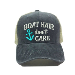 fun-trucker-hats - Boat Hair Don't Care - Trucker Hat