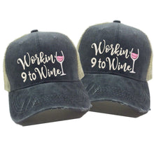 Load image into Gallery viewer, fun-trucker-hats - Workin' 9 To Wine -