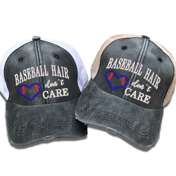 fun-trucker-hats - Baseball Hair Don't Care -