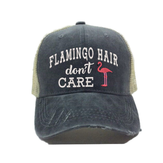fun-trucker-hats - Flamingo Hair Don't Care -
