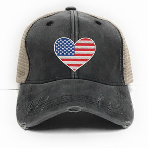 fun-trucker-hats - American Flag Heart -