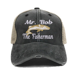 "fun-trucker-hats - ""Your Name"" The Fisherman - Trucker Hat"