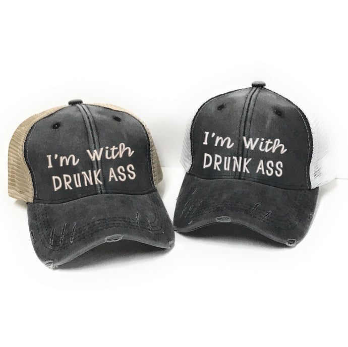 fun-trucker-hats - I'm With Drunk Ass -