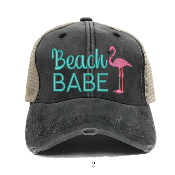fun-trucker-hats - Beach Babe Flamingo Hat - Trucker Hat