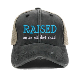 fun-trucker-hats - Raised On An Old Dirt Road - Trucker Hat