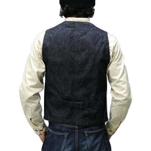 Momotaro Wabash Stripe x Denim Combination Vest