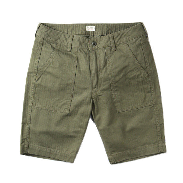 Japan Blue JB5700 Military Herringbone Baker Shorts (Olive) - Okayama Denim Pants - Selvedge