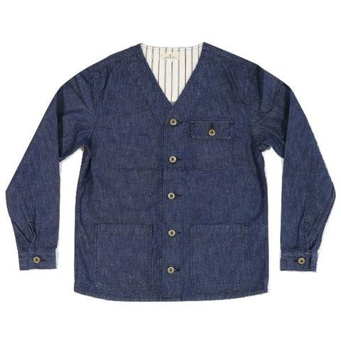 Japan Blue Collarless Denim Coverall
