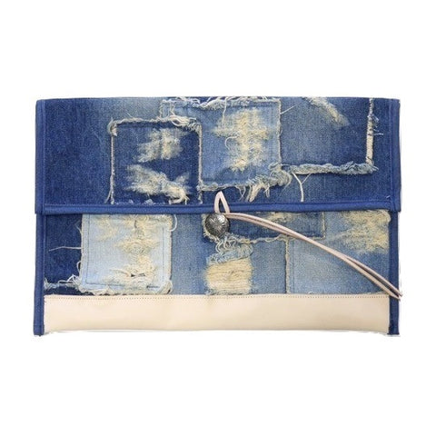 Japan Blue Denim Patchwork Clutch