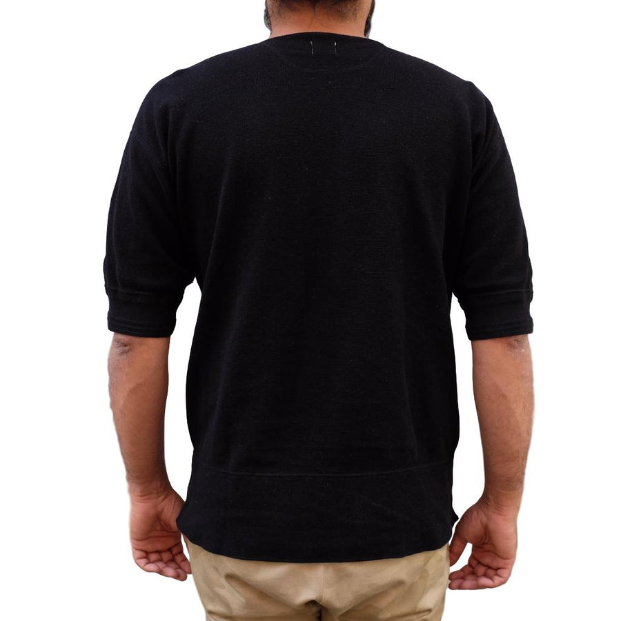 Loop & Weft British Military Rib Knit Henley (Black) - Okayama Denim T-Shirts - Selvedge