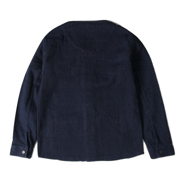 Japan Blue Collarless Indigo Sashiko Coverall - Okayama Denim Jacket - Selvedge