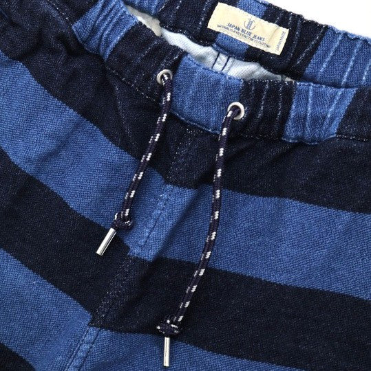 "Japan Blue Indigo Border ""Fake Knit"" Easy Shorts"