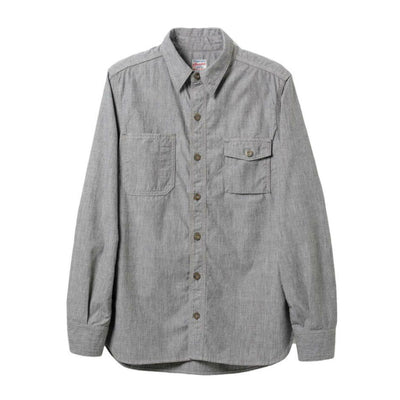 Momotaro Twisted Heather Selvedge Chambray Work Shirt (Gray)