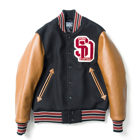 Studio D'Artisan 4421 Cowhide Melton Wool Stadium Jacket