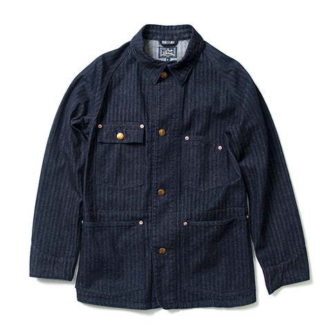 Studio D'Artisan Indigo Herringbone Denim Railroad Jacket