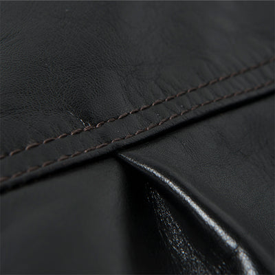 "Studio D'Artisan ""Brown Core"" Leather Jacket (Black) - Okayama Denim Jacket - Selvedge"
