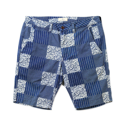 Japan Blue Indigo Patchwork Shorts - Okayama Denim Pants - Selvedge